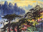 Huangshan at Dusk, 106.5 x 142 cm, oil on canvas, 1966, Landscapes (502) [A101-66]