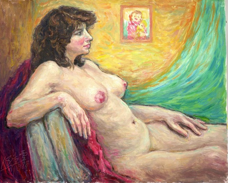 Reclining Nude, 66 x 81 cm, oil on canvas, 1988, Nudes (410) [D058-88]