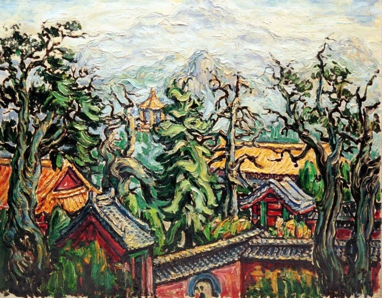 An Old Temple at Tai Shan,  66 x 81 cm, oil on canvas, 1973, Private Collection, Landscapes (511) [D1145-73]