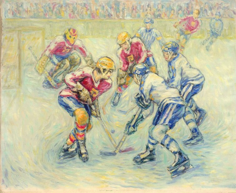 Hockey Face Off, 66 x 81 cm, oil on canvas, 1978, Scenes (195) [D375-78]