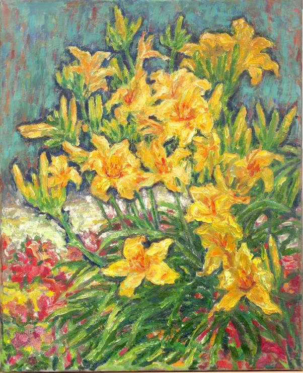 Yellow Day Lilies, 81 x 66cm, oil on canvas, 1991, Still Life (1122) [D525-91]