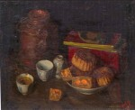 Moon Cakes, 46 x 55 cm, oil on canvas, 1938, Still Life, (1003) [F601-38]